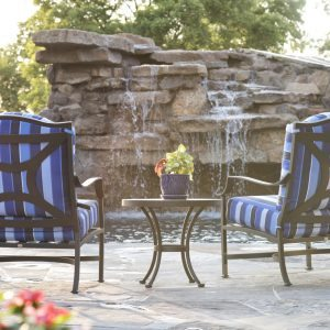 traditions pools & landscape bryan college station texas - pool patio project with rock & waterfall