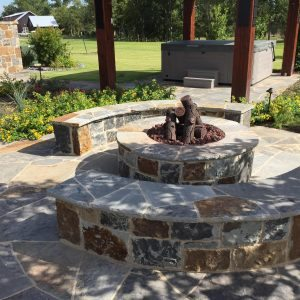 traditions pools & landscape bryan college station texas - rock firepit project 6