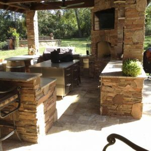 traditions pools & landscape bryan college station texas - outdoor kitchen & outdoor fireplace construction project 6