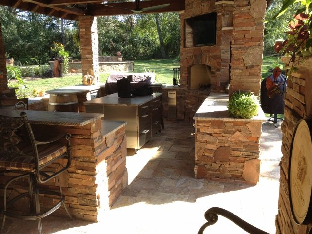 traditions pools & landscape bryan college station texas outdoor kitchen construction 1
