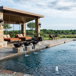 traditions pools & landscape bryan college station texas - swimming pool construction with decorative fountains 3