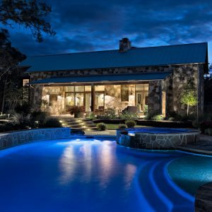 traditions pools & landscape bryan college station texas - pool project with elegant lighting