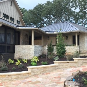 traditions pools & landscape bryan college station texas - rock walkway & ledge construction 2
