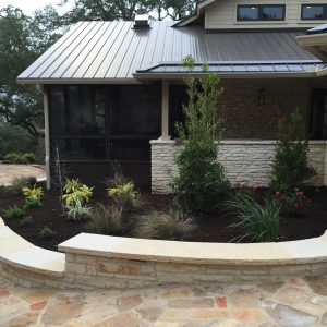 traditions pools & landscape bryan college station texas - rock walkway & ledge construction 3